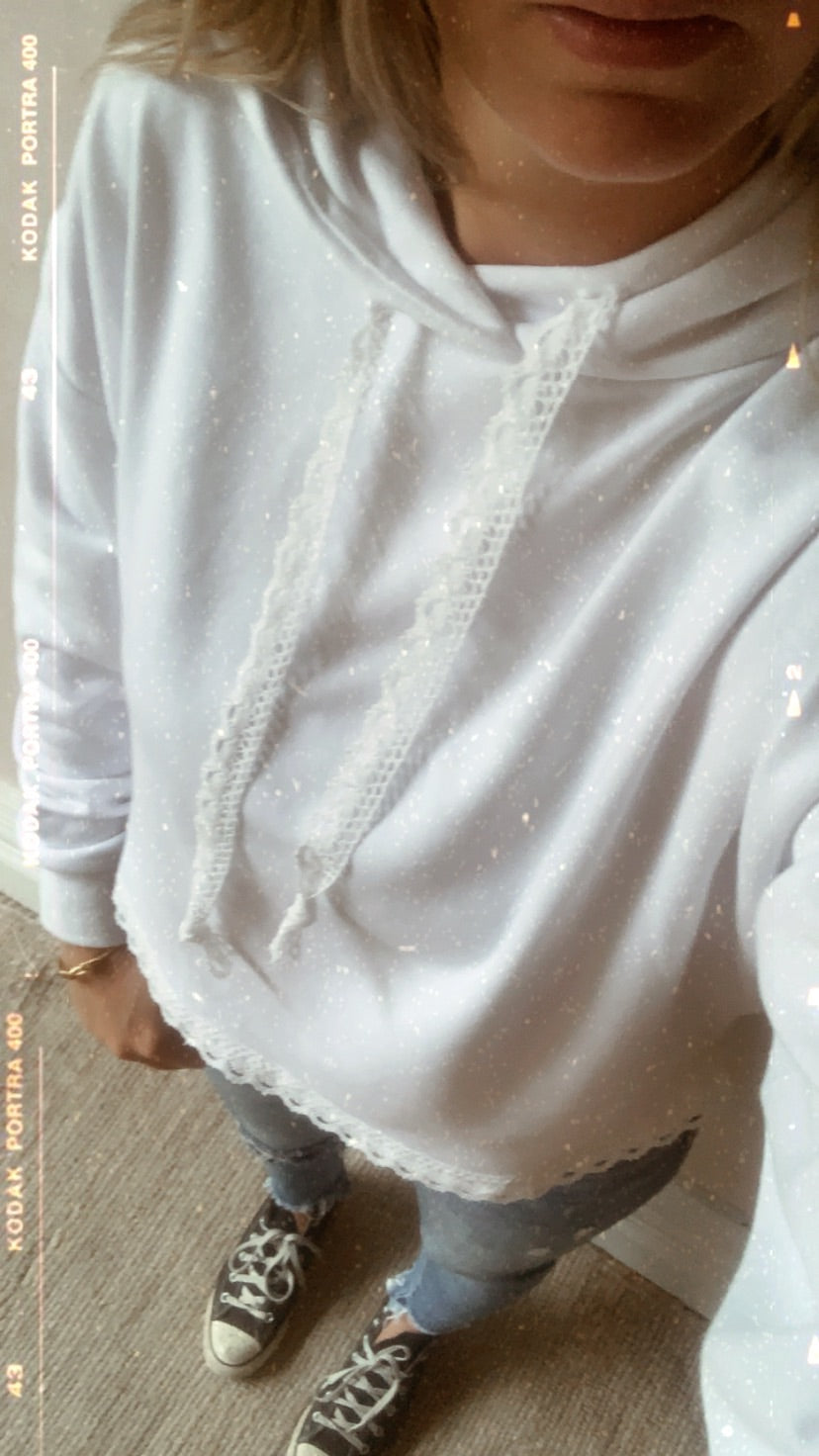 Lace Cropped Hoodie