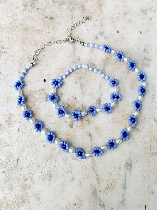Pearl and Beaded Bracelet - Blue Multi