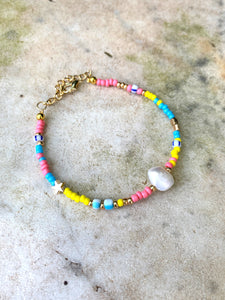 Real Pearl With Multi Beads Bracelet