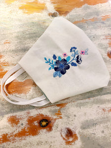 embroidery face mask, washable, flowers, feminine, melbourne
