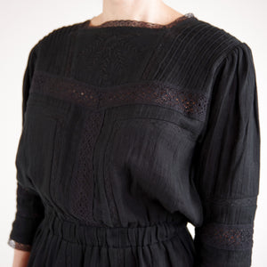 black dress with embroidery and lace. Online fashion womenswear vintage inspired website. designed in melbourne