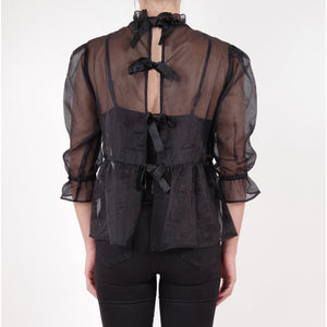 organza black top blouse ribbon, fashion, online, melbourne, feminine