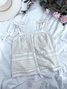 * PRE ORDER * White Lace And Embroidered Singlet