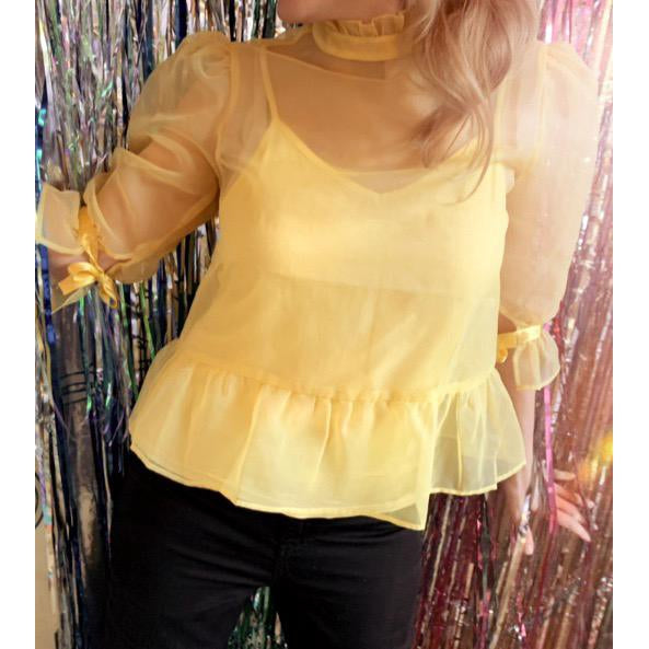 organza feminine romantic yellow blouse online fashion melbourne top