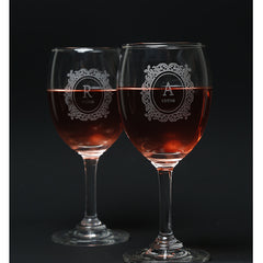 2 Personalized Wine Glasses