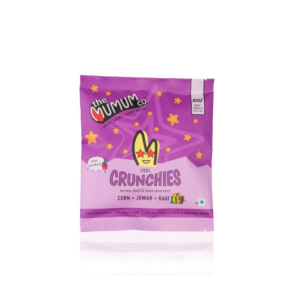 Healthy Supergrain Roasted Puff Snacks, Beetroot Crunchies 20g - (Pack of 8 Pouches)