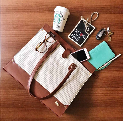 Tote - Stripe and Tan Office