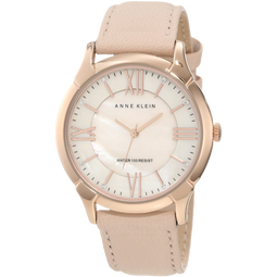 Anne Klein Womens AK 1010RGLP Rose Gold Tone Watch with Swarovski Crystals and Leather Band