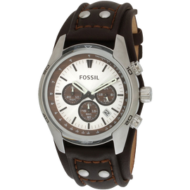 Fossil Mens Stainless Steel Chronograph Watch with Genuine Brown Leather Strap