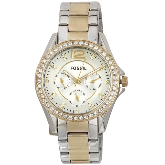 Fossil Womens ES3204 Riley Silver and Gold Tone Watch