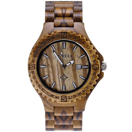 MEKU Handmade Wooden Wrist Watches Quartz with Solid Natural Zebrawood and Date Calendar