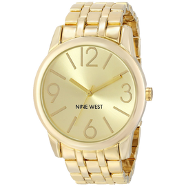 Nine West Womens NW 1578CHGB Champagne Dial Gold-Tone Bracelet Watch