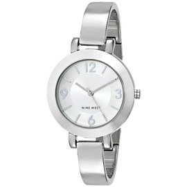 Nine West Womens NW 1631SVSB Silver Tone Sunray Dial and Bangle Watch