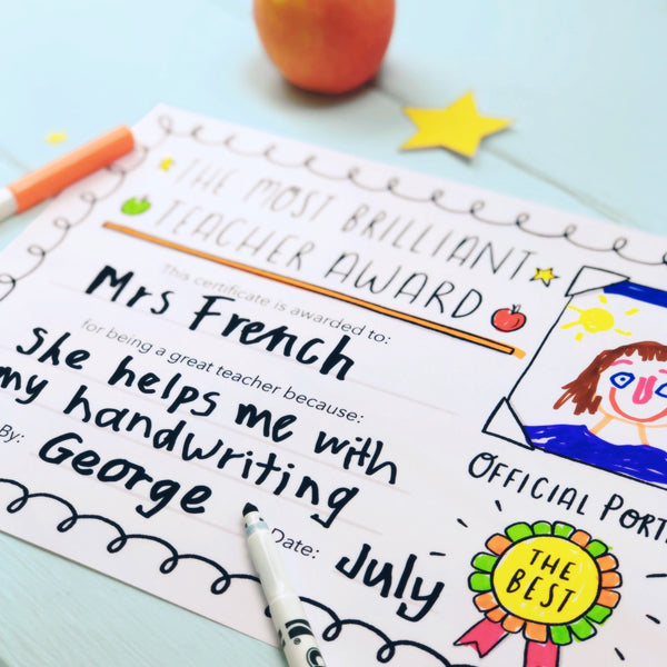 Free thank you teacher appreciation certificate with a childs drawing and hand writing