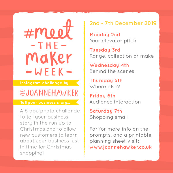 #MeetTheMakerWeek official prompt list for the 2019 winter edition of the challenge.