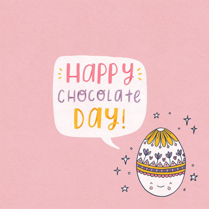 A patterned easter egg on a pink background with a speech bubble saying 'happy chocolate day!'