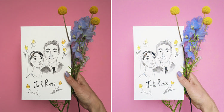 A before and after shot using pictapgo filters. The image shows the illustration given to me by Emmeline Pidgen for my wedding, held over a pink background with yellow and purple flowers.