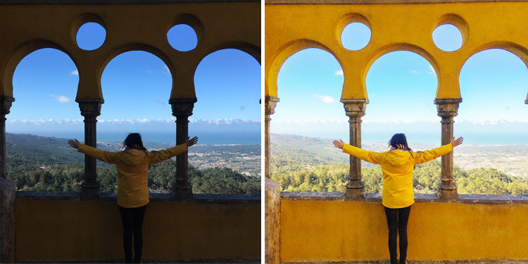 Before and after of me in Sintra, Portugal, having been filtered using pictapgo. The first image shows a really dark, shadowy picture and the second shows the result of stacked filters, in the bright yellow Pena Palace