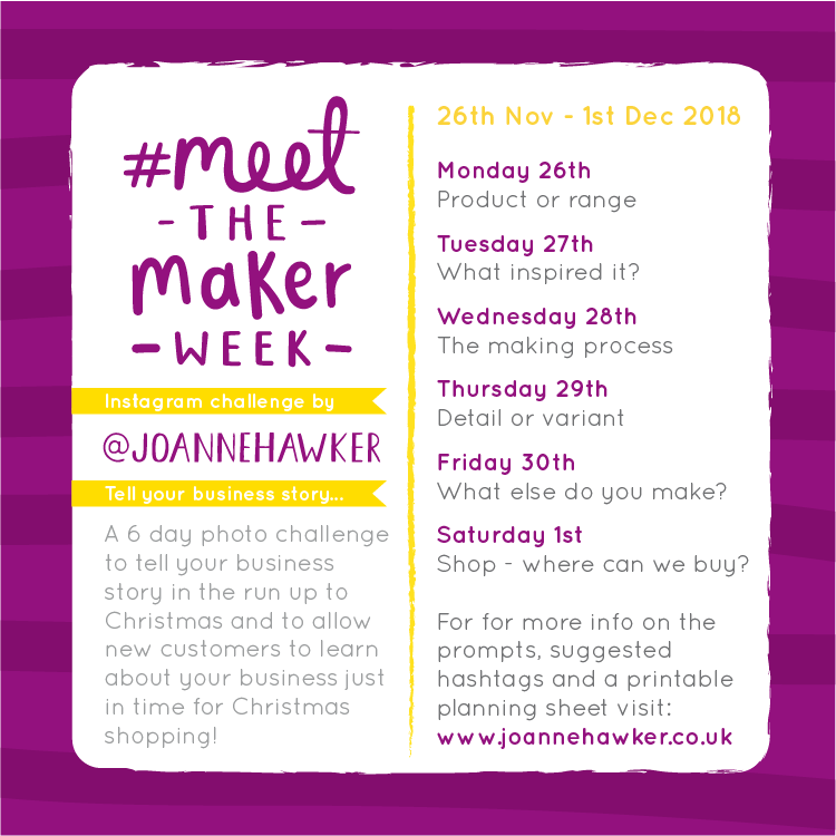 #MeetTheMakerWeek 2018 Official List of Prompts