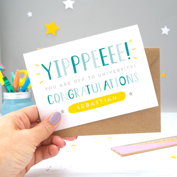 The card reads 'yipppeeee, you're off to university! Congratulations [insert personalisation]. An A-Level exam results and congratulations card