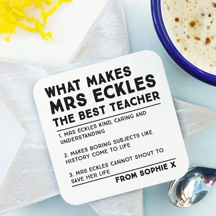 Personalised best teacher coaster by coconut grass