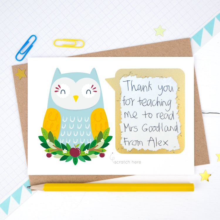 Personalised Owl Thank you teacher scratch and reveal card