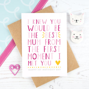 I knew you would be the best mum - pink mother's day card