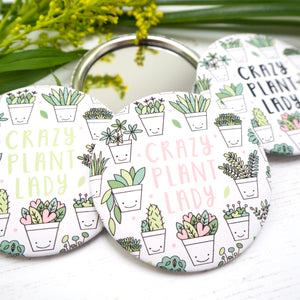 Crazy plant lady pocket mirror