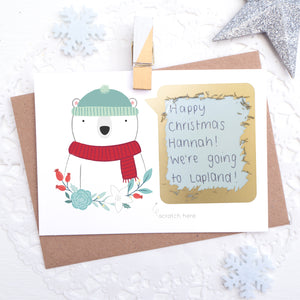 Personalised polar bear christmas message scratch and reveal card