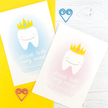 Front of the tooth fairy receipt cards featuring a smiling tooth wearing a golden crown set up a background of pink or blue