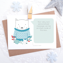 Load image into Gallery viewer, Personalised Arctic Fox secret message scratchcard with space for you to have a printed message