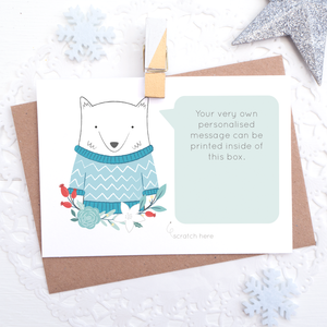 Personalised Artctic Fox secret message scratchcard with space for you to have a printed message