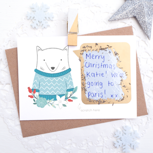 Personalised Arctic Fox secret message scratchcard with card scratched off