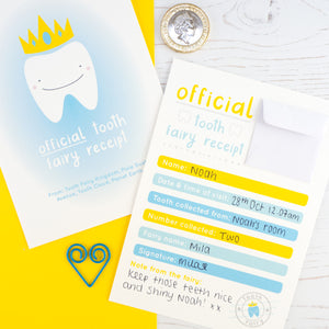 Blue front and back version of the tooth fairy receipt featuring a smiling tooth wearing a golden crown and the reverse of the receipt with a small envelope to place coins and a message from the tooth fairy