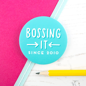 Bossing it since 2010 - personalised, teal, girl boss pocket mirror
