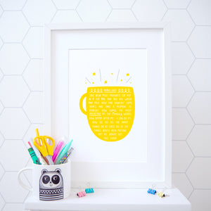 A cup of brave juice print in a happy bright yellow
