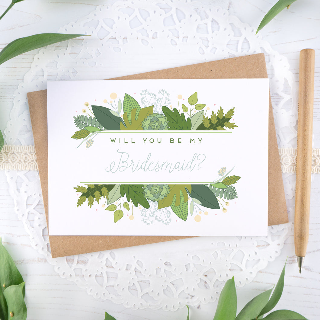 Foliage will you be my bridesmaid card