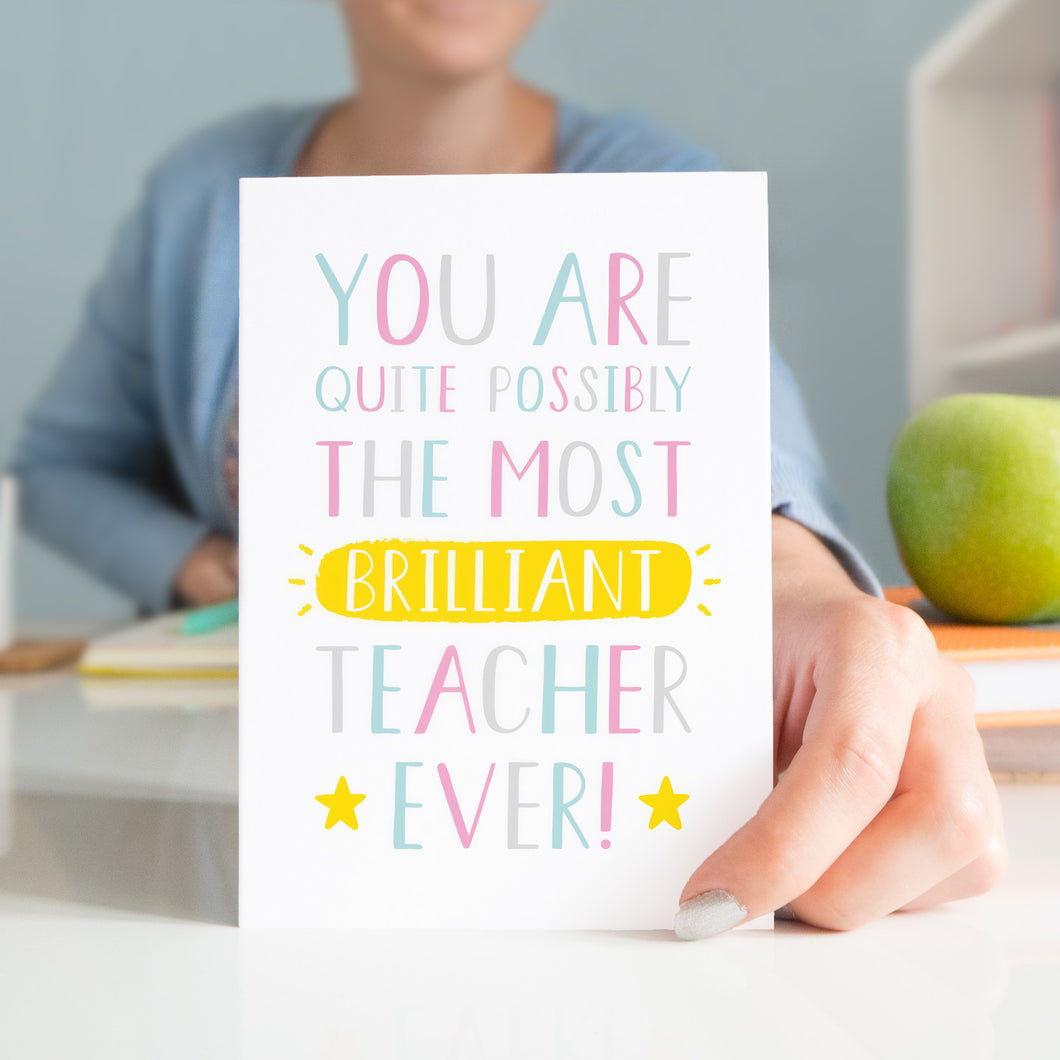 A thank you teacher card that reads