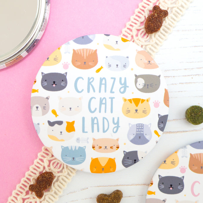 Crazy cat lady pocket mirror