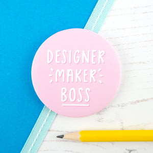 Designer, Maker, Boss - pocket mirror in light pink, a gift for makers