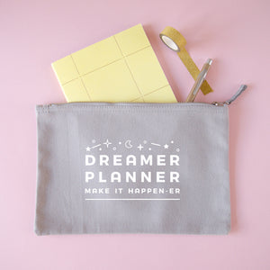 Dreamer and planner large stationery pouch in grey.