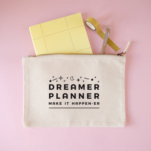 Dreamer and planner large stationery pouch in natural.