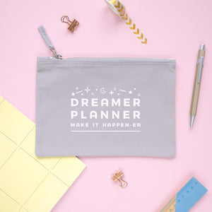 Dreamer and planner medium pencil case pouch in grey.