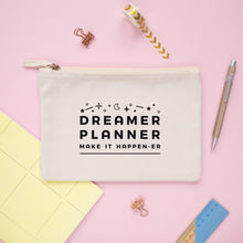 Load image into Gallery viewer, Dreamer and planner medium pencil case pouch in natural.