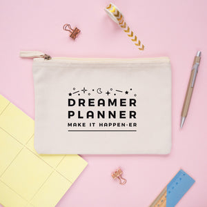 Dreamer and planner medium pencil case pouch in natural.