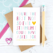 Load image into Gallery viewer, Best not so evil stepmum card in pink and plain
