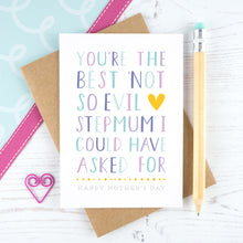 Load image into Gallery viewer, Best not so evil stepmum card in purple