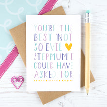 Load image into Gallery viewer, Best not so evil stepmum card in purple and plain