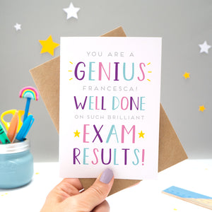'You are a genius [insert name]! Well done on such brilliant exam results'. A personalised exam congratulations card featuring my hand drawn letters in varying shades of purple, pink and blue and yellow stars.