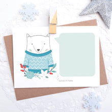 Personalised Artctic Fox secret message scratchcard with space for you to hand write a message